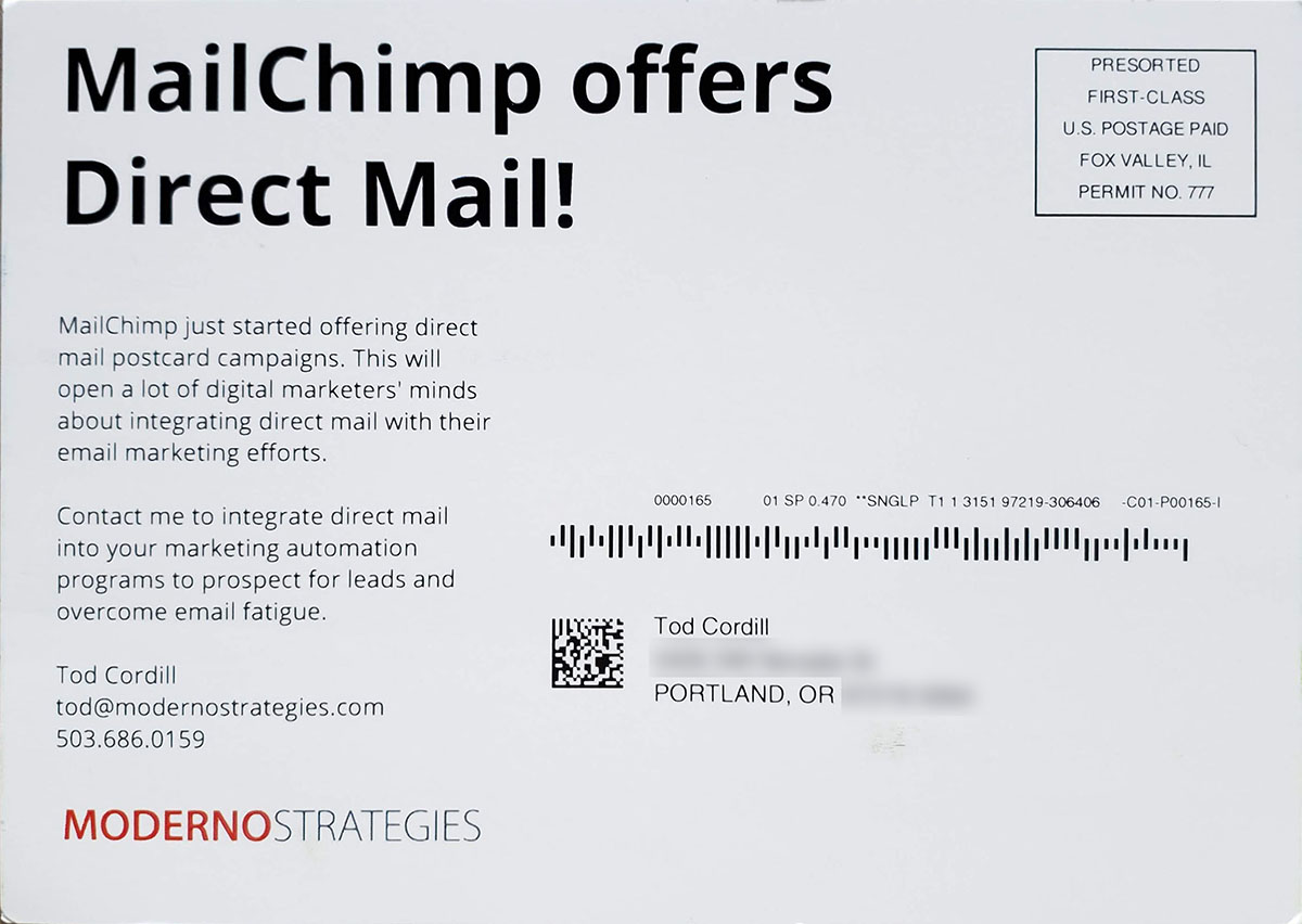 MailChimp postcard address side