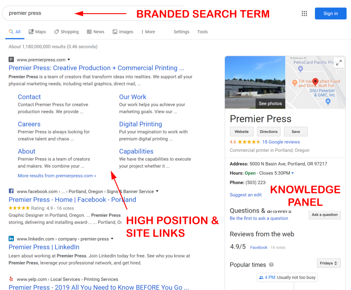 branded search results page